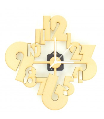 Laser Cut Modern Joined Numbers Clock with Clock Mechanism