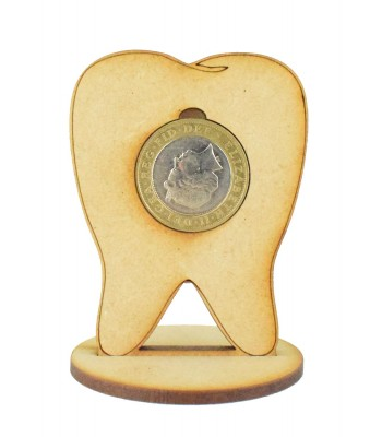 Laser Cut Tooth £2 Coin Holder on a stand