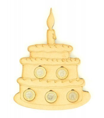 Laser cut Birthday Cake £1 Coin Holder