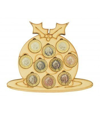 Laser cut Christmas Pudding £1 Coin Holder