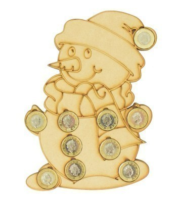 Laser cut Christmas Snowman £1 Coin Holder