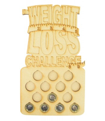 Laser Cut 14lb Weight Loss £1 Coin Holder with 'Weight Loss Challenge' on Top