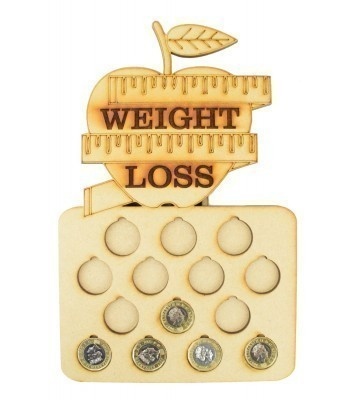 Laser Cut 14lb Weight Loss £1 Coin Holder with Engraved Apple on Top