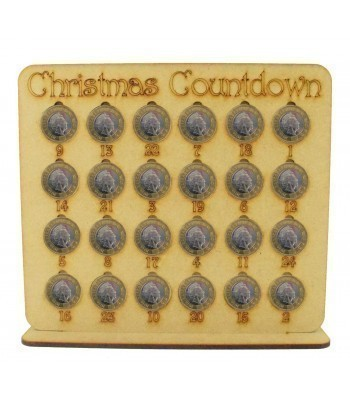 Laser Cut Christmas Countdown £1 Coin Holder