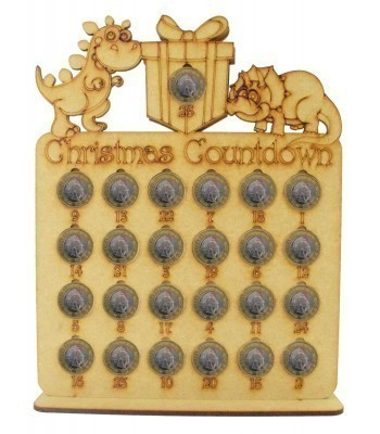 Laser Cut Christmas Countdown £1 Coin Holder - Dinosaur Shapes