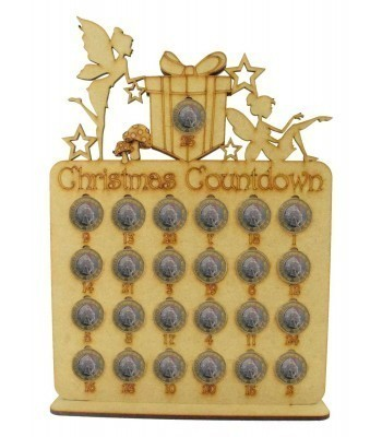 Laser Cut Christmas Countdown £1 Coin Holder - Fairy Shapes