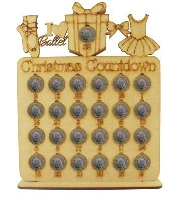 Laser Cut Christmas Countdown £1 Coin Holder - Ballet Shapes