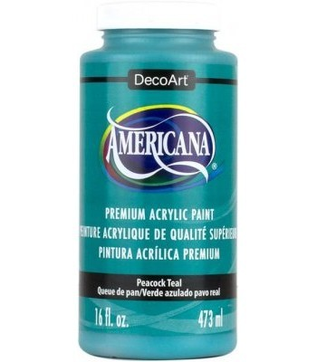 Americana Peacock Teal Acrylic Craft Paint Extra Large 16oz