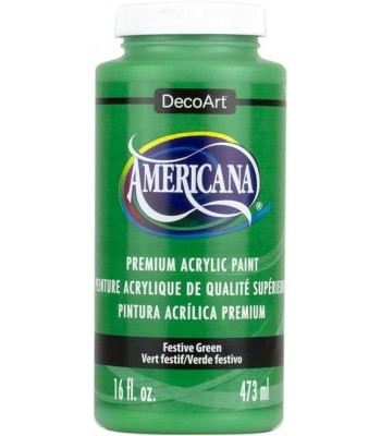 Americana Festive Green Acrylic Craft Paint Extra Large 16oz