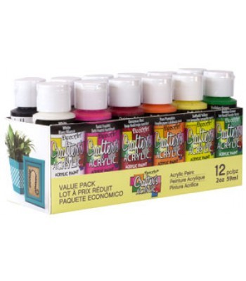 Crafters Acrylics 12 Value Pack - 2oz
