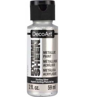 DecoArt Sterling Silver Extreme Sheen Metallic Craft Paints. 2oz