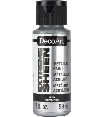 DecoArt Silver Extreme Sheen Metallic Craft Paints. 2oz