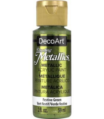 DecoArt Festive Green Dazzling Metallic Craft Paints. 2oz