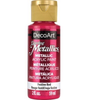 DecoArt Festive Red Dazzling Metallic Craft Paints. 2oz