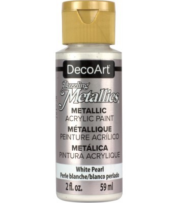 DecoArt White Pearl Dazzling Metallic Craft Paints. 2oz