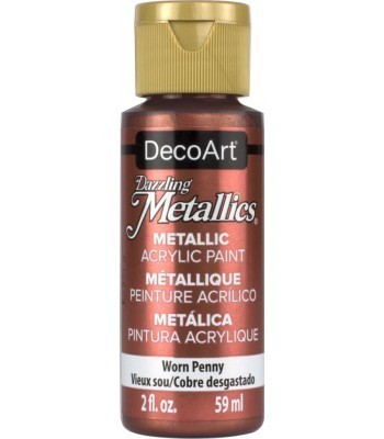 DecoArt Worn Penny Dazzling Metallic Craft Paints. 2oz