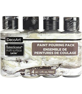 Americana Multi-Surface Satin Neutral Acrylics - 4 Paint Pouring Pack - 2oz