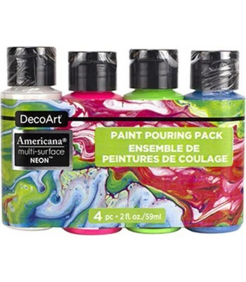 Americana Multi-Surface Satin Neon Acrylics - 4 Paint Pouring Pack - 2oz