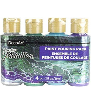 DecoArt Dazzling Metallics Jewel Tone Acrylics - 4 Paint Pouring Pack - 2oz
