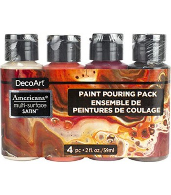 Americana Multi-Surface Satin Molten Lava Acrylics - 4 Paint Pouring Pack - 2oz