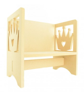 Routered 18mm MDF Quality Flat packed Princess Crown Novelty Chair