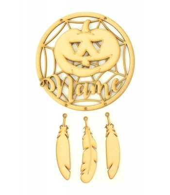 Laser Cut Personalised Halloween Dream Catcher with Hanging Feathers, 3D Name & Pumpkin Shape