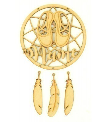 Laser Cut Personalised Traditional Dream Catcher with Hanging Feathers, 3D Name & Ballet Shoes Shape