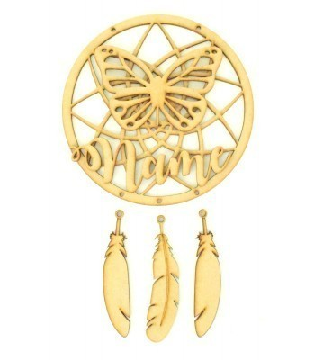 Laser Cut Personalised Traditional Dream Catcher with Hanging Feathers, 3D Name & Butterfly Shape