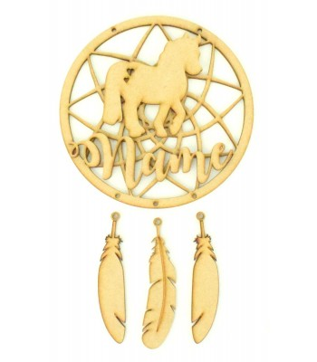 Laser Cut Personalised Traditional Dream Catcher with Hanging Feathers, 3D Name & Horse Shape