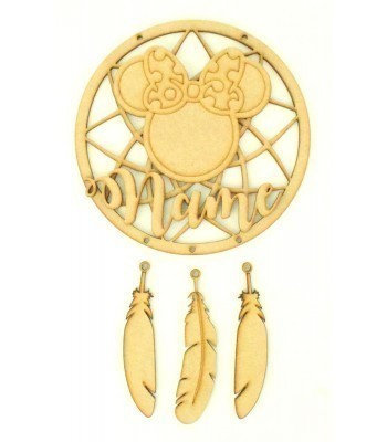 Laser Cut Personalised Traditional Dream Catcher with Hanging Feathers, 3D Name & Mouse Head with Bow Shape