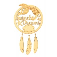 Laser Cut 'Sweet Dreams' Mermaid Dream Catcher with Hanging Feathers