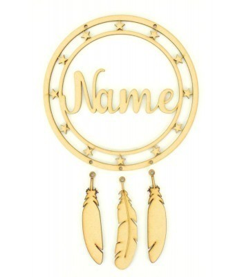 Laser Cut Personalised Star Detail Frame Dream Catcher with Hanging Feathers