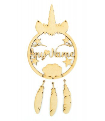 Laser Cut Personalised Unicorn Dream Catcher with Hanging Feathers - NO ETCHING