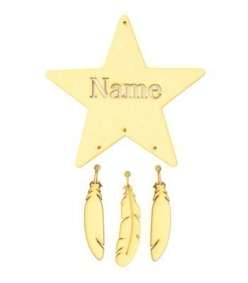 Laser Cut Personalised Stencil Star Dream Catcher with Hanging Feathers