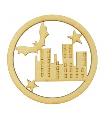 Laser Cut Mini Dream Catcher Frame with Superhero City Scene Shape Inside