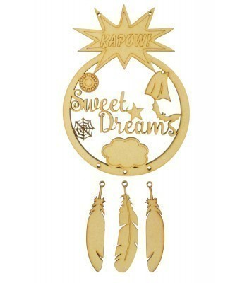 Laser Cut 'Sweet Dreams' Superheroes Dream Catcher with Hanging Feathers