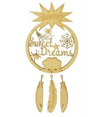 Laser Cut 'Sweet Dreams' Superhero Spider Webs Dream Catcher with Hanging Feathers