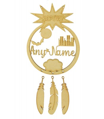 Laser Cut Personalised Superhero City Scene Dream Catcher with Hanging Feathers