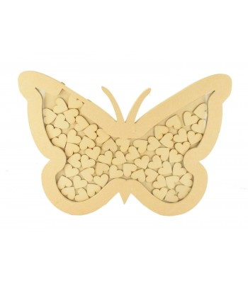 18mm Freestanding MDF Unique Design Butterfly Frame Drop Box In a Stand - Heart Tokens