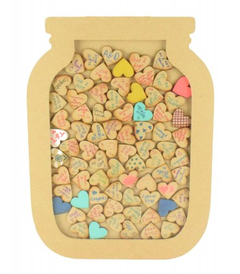 18mm Freestanding MDF Large Wedding Jar Drop Box - Guest Book Alternative - Heart Tokens