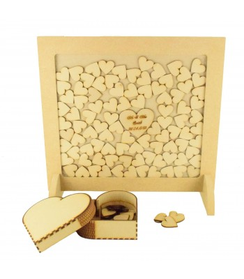 SPECIAL OFFER - 18mm Freestanding MDF Square Frame Drop Box on Two Stands - 40mm Hearts