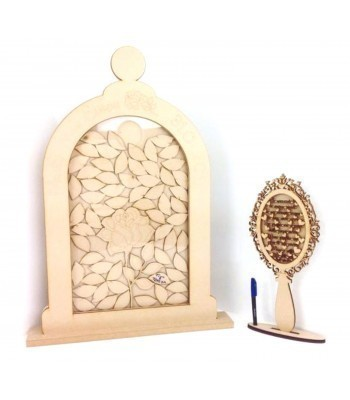 Freestanding MDF Personalised Large Unique Design  Novelty Bell Jar with Rose Drop Box - Petal Tokens
