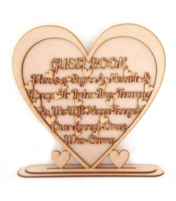 Laser Cut Guest Book Drop Box Instruction Heart Sign on a stand