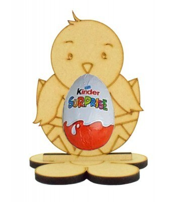 6mm Easter Chick Kinder Egg Holder on a Flower Shape Stand