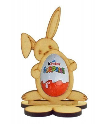 6mm Easter Bunny with Easter Egg Kinder Egg Holder on a Flower Shape Stand