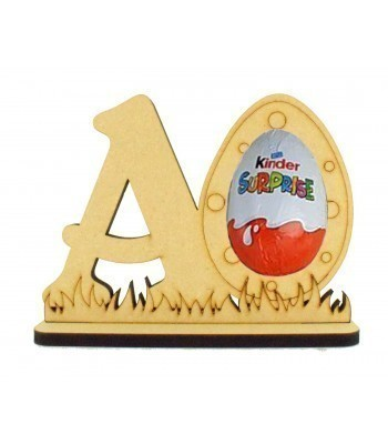 6mm Personalised Letter with Easter Egg Kinder Egg Holder on a Stand