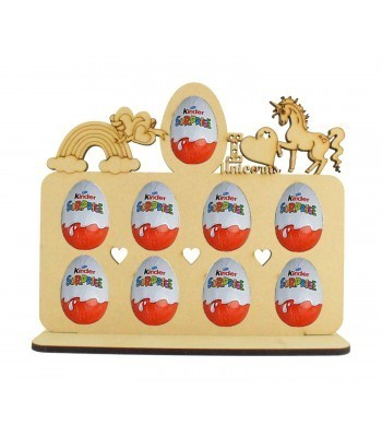6mm Unicorn Themed Plaque Kinder Egg Holder on a Stand