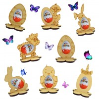 6mm Easter Kinder Egg Holder on a Flower Shape Stand - Options