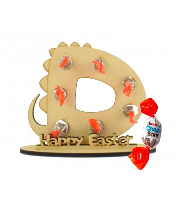 6mm Personalised Dinosaur Letter Kinder Choco Bon Holder on a Stand - Stand Options