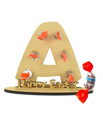 6mm Personalised Easter Letter Kinder Choco Bon Holder on a Stand - Stand Options
